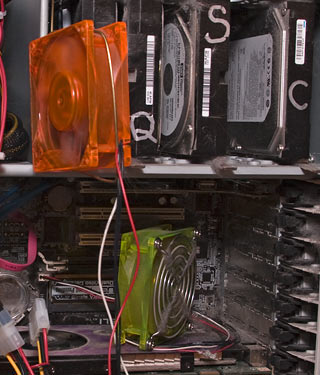 Jury-rigged PC cooling fans