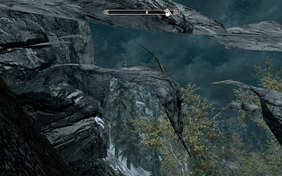 Partially transparent rock in Skyrim