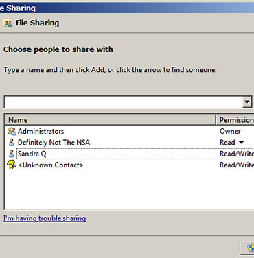 """Unknown Contact"" in file sharing"