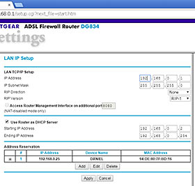 Netgear router DHCP settings